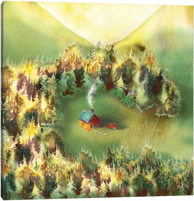 Little Cabin In Woods Canvas Art Print