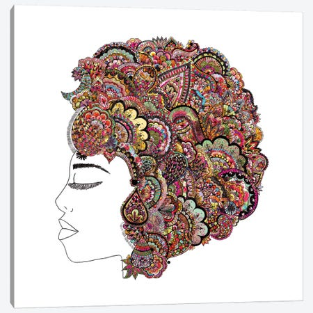 Her Hair (Les Fleur) Canvas Print #BGR15} by Bianca Green Canvas Wall Art