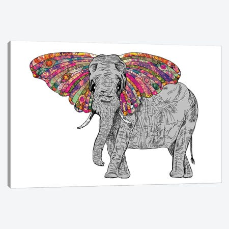 Bella The Happy Butterphant Canvas Print #BGR3} by Bianca Green Canvas Art