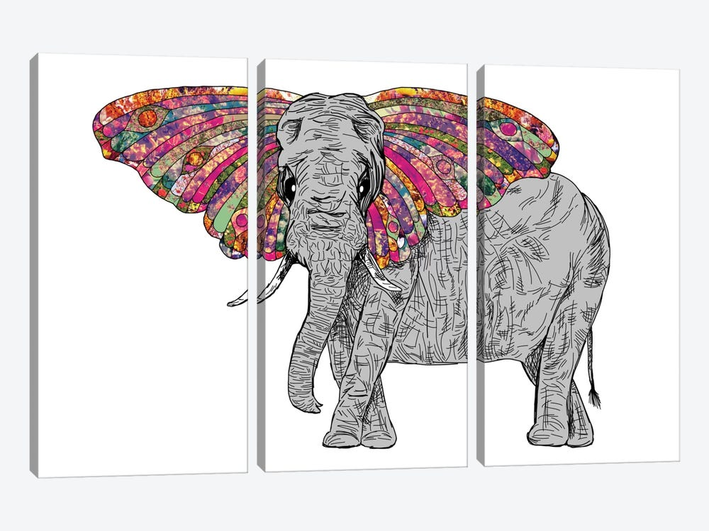 Bella The Happy Butterphant by Bianca Green 3-piece Canvas Art Print