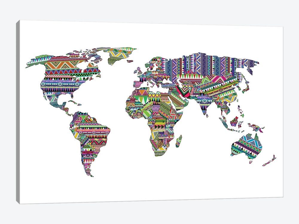 Overdose World Map by Bianca Green 1-piece Canvas Artwork
