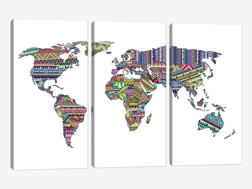 Overdose World Map by Bianca Green 3-piece Canvas Artwork