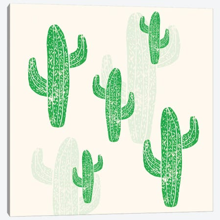 Linocut Cacti Canvas Print #BGR54} by Bianca Green Canvas Art