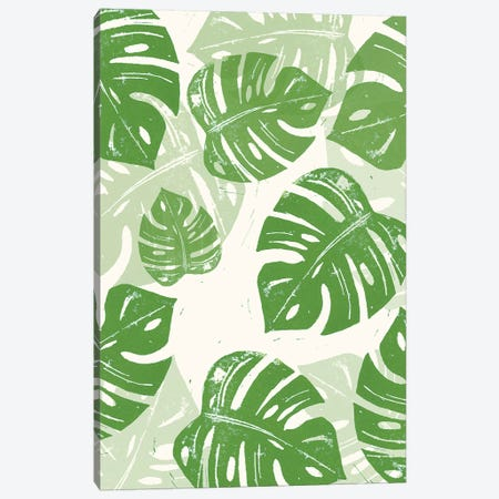Linocut Monstera Canvas Print #BGR55} by Bianca Green Canvas Art