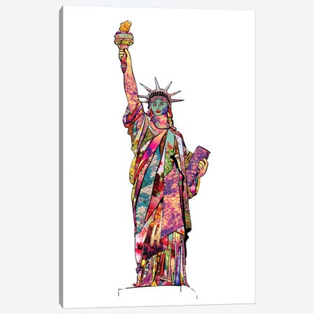 Statue Of Liberty Canvas Print #BGR58} by Bianca Green Art Print