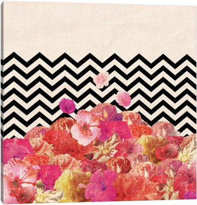 Chevron Flora II Canvas Art Print