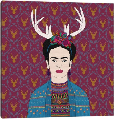 Deer Frida Canvas Art Print