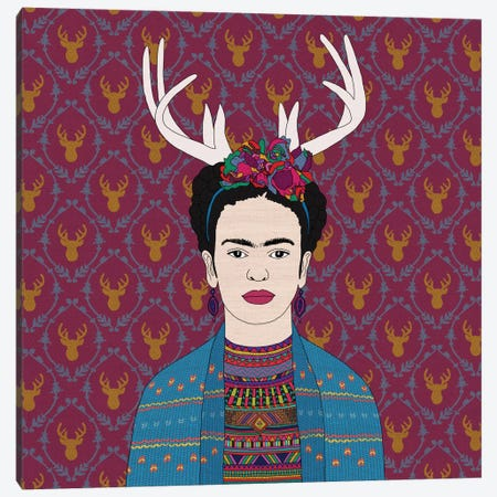 Deer Frida Canvas Print #BGR9} by Bianca Green Canvas Wall Art