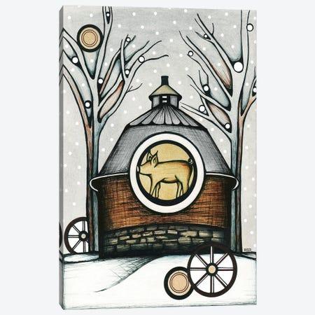 Round Barn In Winter Canvas Print #BGT16} by Bridgett Scott Canvas Wall Art