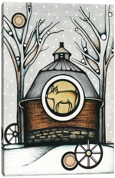 Round Barn In Winter Canvas Art Print