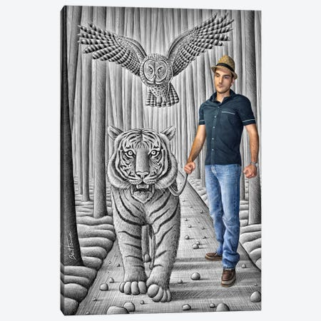 Pencil vs. Camera - 74 - Tiger and Owl Canvas Print #BHE101} by Ben Heine Canvas Art