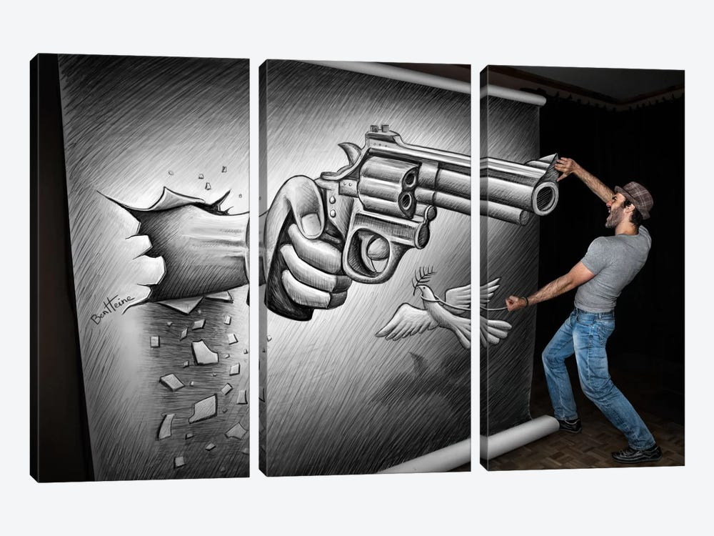 Pencil vs. Camera - 72 by Ben Heine 3-piece Canvas Wall Art