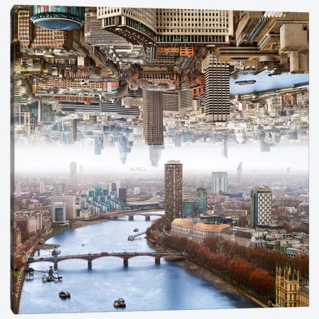 London - Double Landscape Canvas Print #BHE106} by Ben Heine Art Print