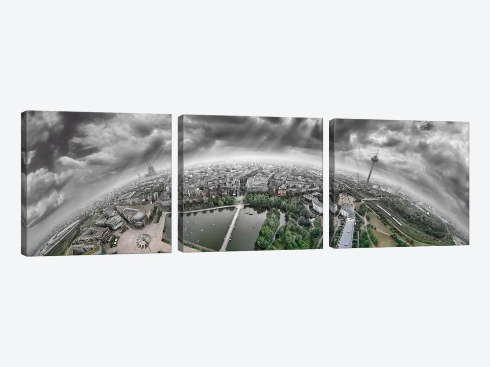 Cologne Panorama 360 degrees by Ben Heine 3-piece Canvas Print