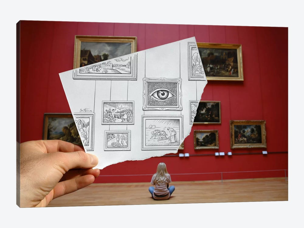 Pencil vs. Camera - 7 by Ben Heine 1-piece Canvas Art