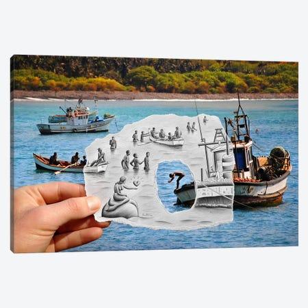 Pencil vs. Camera 2 AOC - Mermaid Canvas Print #BHE11} by Ben Heine Canvas Art
