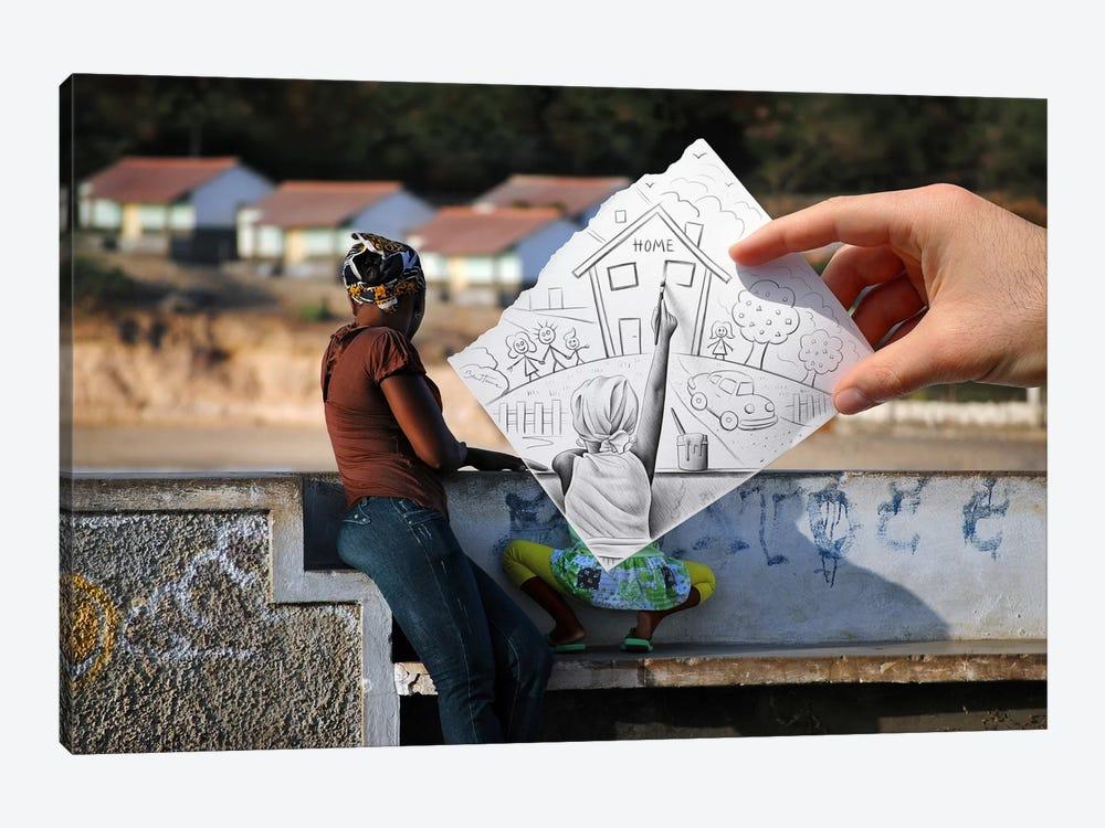 Pencil vs. Camera 3 AOC - Home by Ben Heine 1-piece Canvas Wall Art