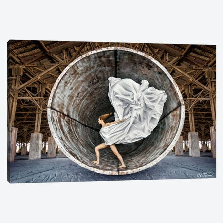 Time Traveler Canvas Print #BHE134} by Ben Heine Canvas Artwork