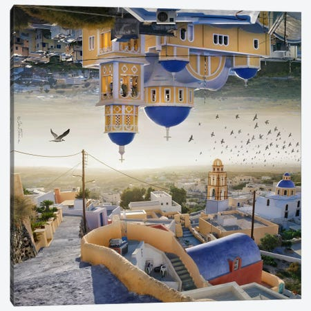 Santorini - Double Landscape Canvas Print #BHE135} by Ben Heine Canvas Artwork