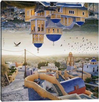 Santorini - Double Landscape Canvas Print #BHE135