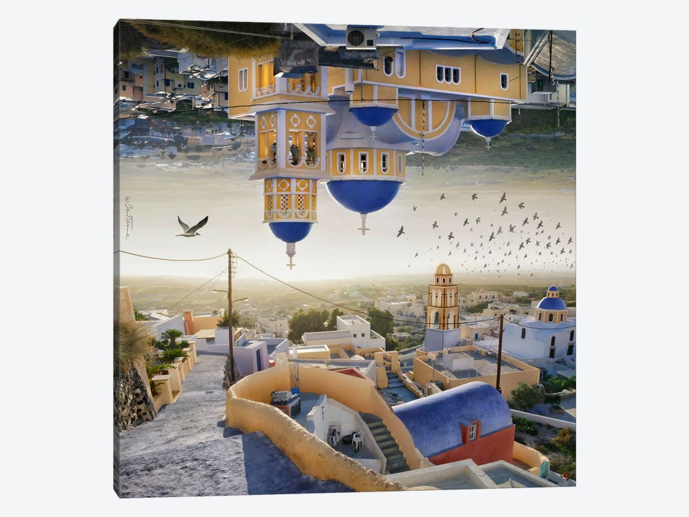 Santorini - Double Landscape by Ben Heine 1-piece Canvas Artwork