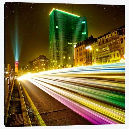 Brussels By Night 3-Piece Canvas #BHE139} by Ben Heine Canvas Art Print