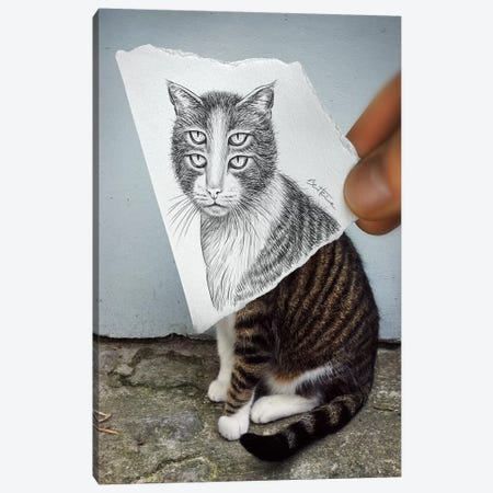 Pencil vs. Camera 6 - 4 Eyes Cat Canvas Print #BHE13} by Ben Heine Canvas Art