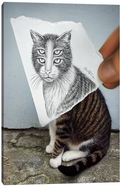 Pencil vs. Camera 6 - 4 Eyes Cat Canvas Art Print