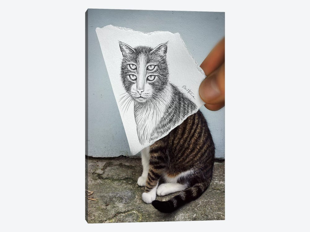 Pencil vs. Camera 6 - 4 Eyes Cat by Ben Heine 1-piece Canvas Print