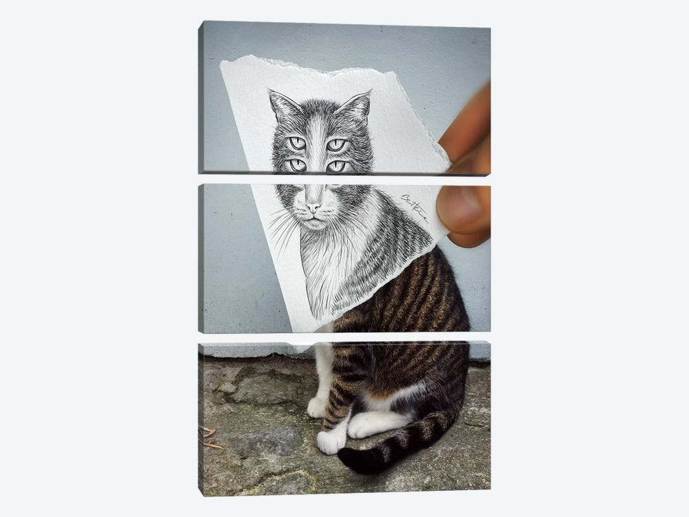 Pencil vs. Camera 6 - 4 Eyes Cat by Ben Heine 3-piece Canvas Art Print