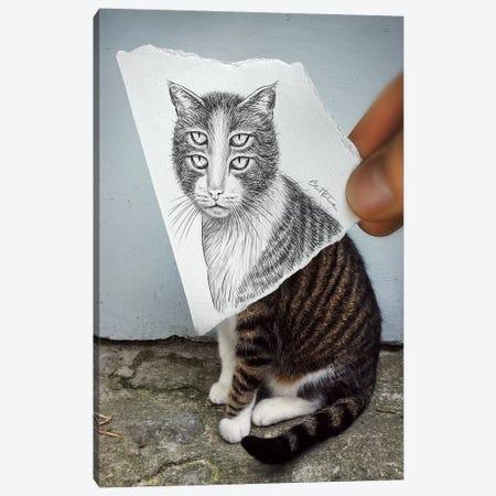 Pencil vs. Camera 6 - 4 Eyes Cat Canvas Print #BHE13} by Ben Heine Canvas Art