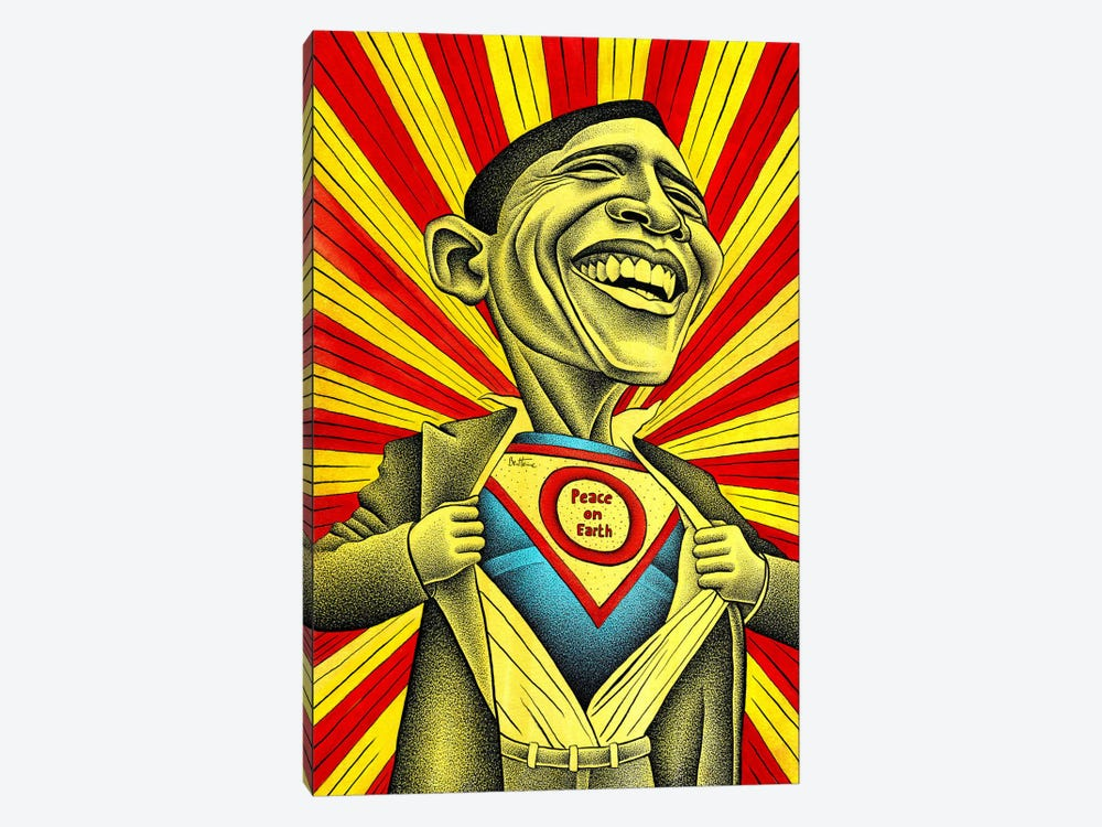Obama vs. The Fear by Ben Heine 1-piece Canvas Wall Art