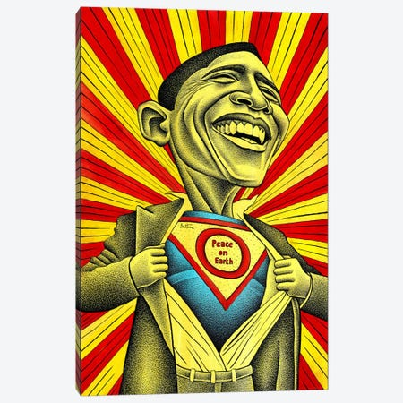 Obama vs. The Fear Canvas Print #BHE148} by Ben Heine Canvas Artwork