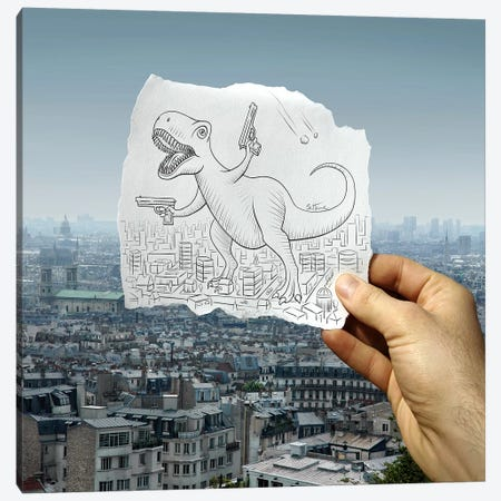 Pencil vs. Camera 10 - Angry Dino Canvas Print #BHE15} by Ben Heine Canvas Print