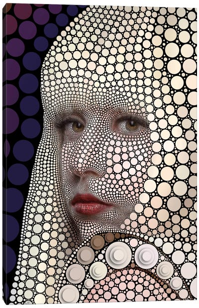 Digital Circlism Series: Lady Gaga Canvas Print #BHE163