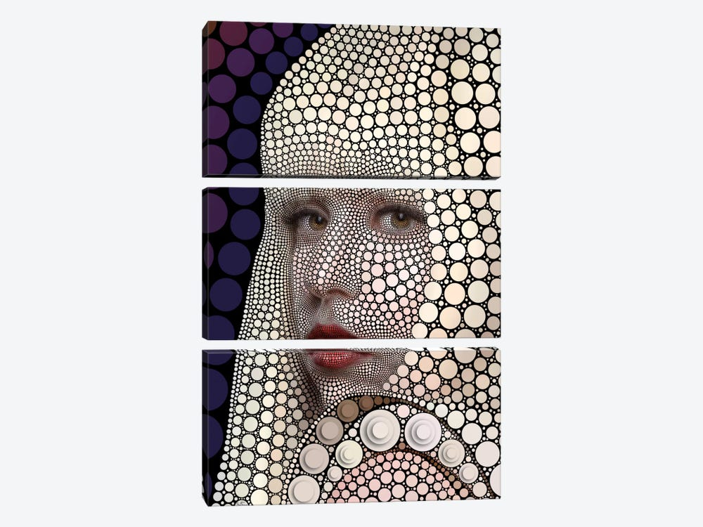 Digital Circlism Series: Lady Gaga by Ben Heine 3-piece Canvas Print