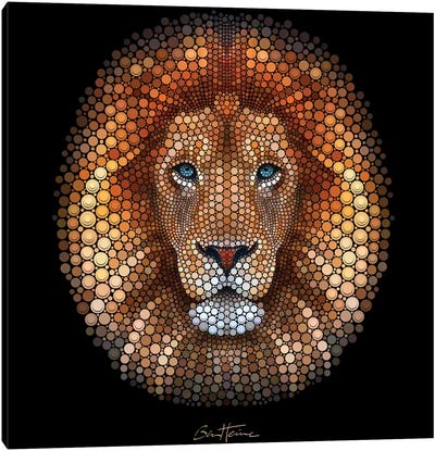 Digital Circlism Series: Lion Canvas Art Print