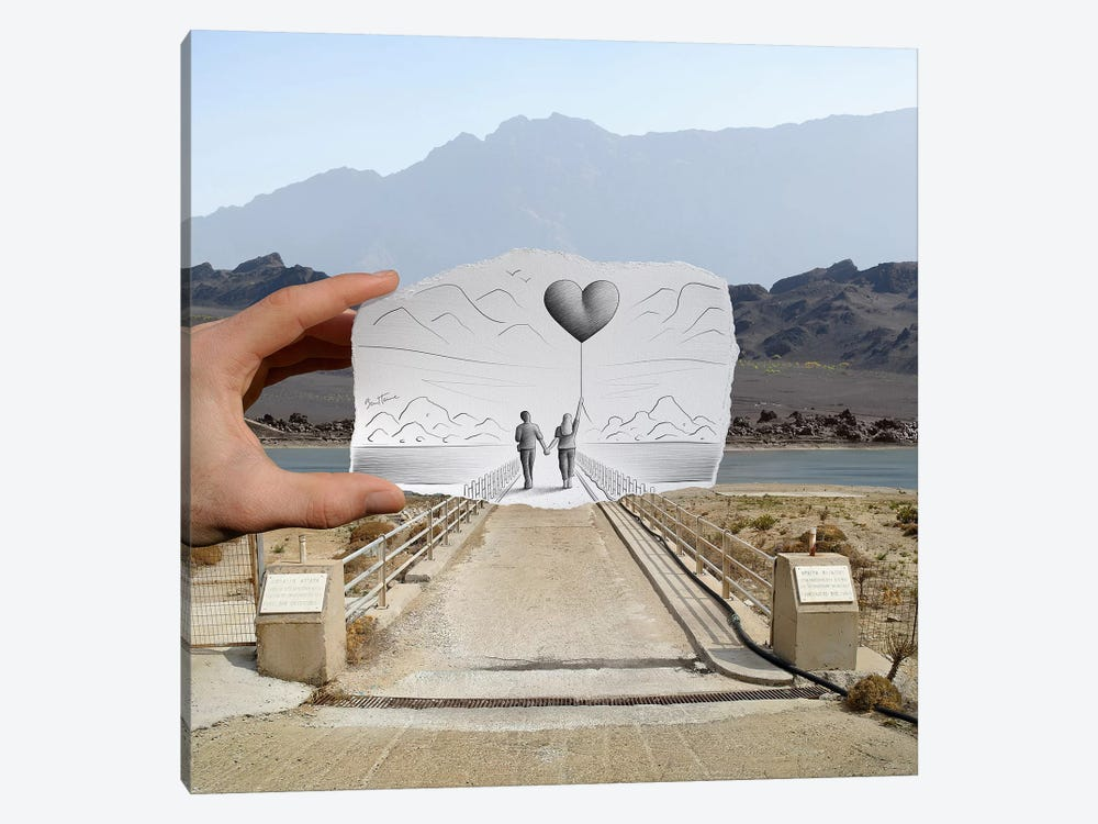 Pencil vs. Camera 4 AOC - Lovers by Ben Heine 1-piece Canvas Wall Art
