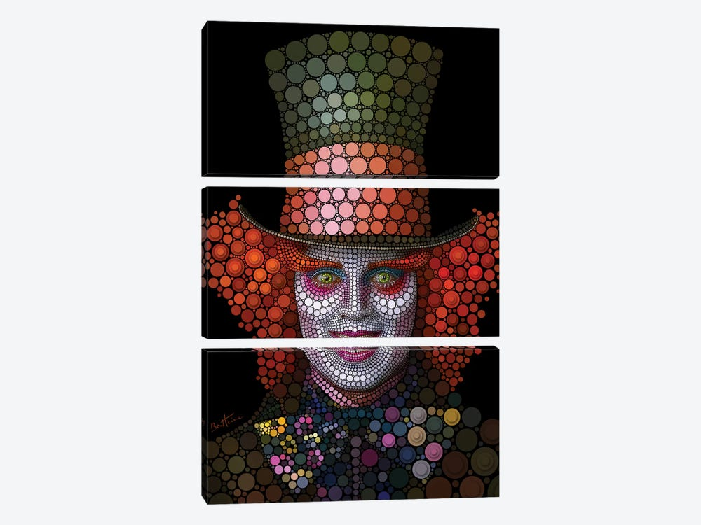 Mad Hatter - Johnny Depp by Ben Heine 3-piece Canvas Print