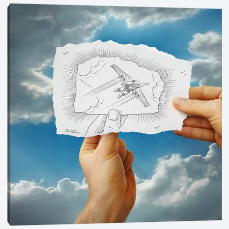 Pencil vs. Camera 20 - Flying Man Canvas Print #BHE18} by Ben Heine Canvas Artwork