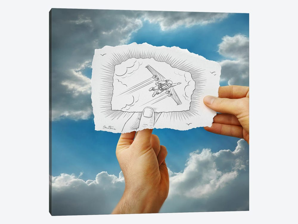 Pencil vs. Camera 20 - Flying Man by Ben Heine 1-piece Canvas Art