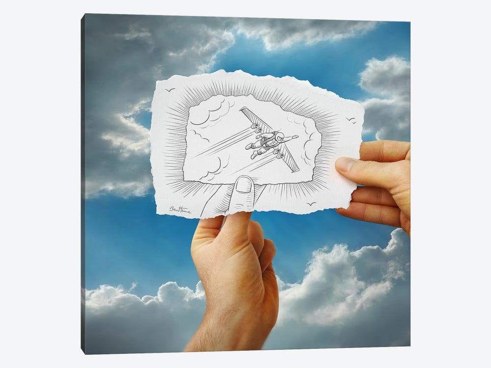 Pencil vs. Camera 20 - Flying Man by Ben Heine 1-piece Canvas Art