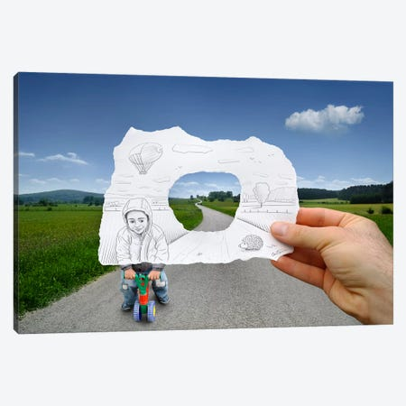 Pencil vs. Camera 29 - Child Playing Canvas Print #BHE21} by Ben Heine Art Print