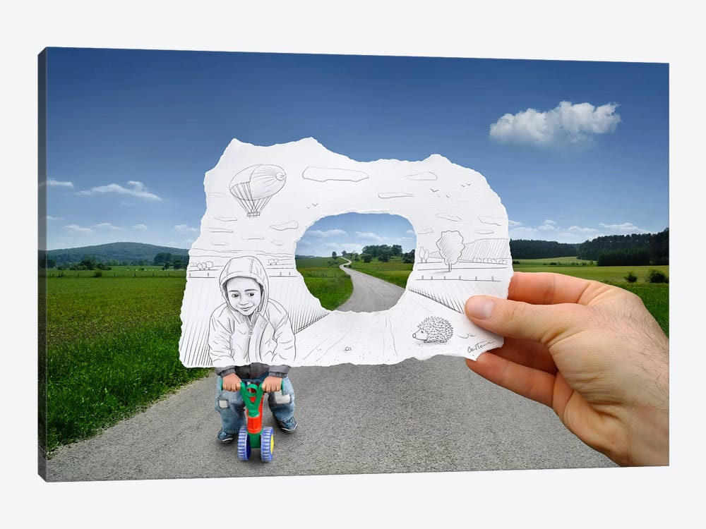 Pencil vs. Camera 29 - Child Playing by Ben Heine 1-piece Canvas Artwork