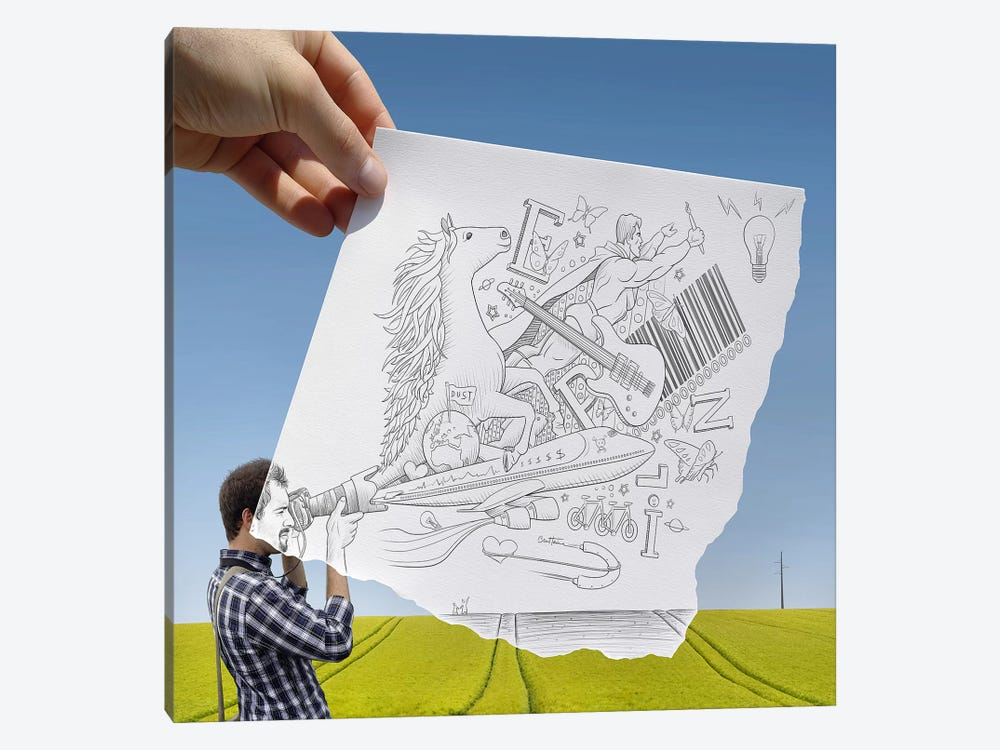Pencil vs. Camera 30 - Photographer by Ben Heine 1-piece Canvas Print