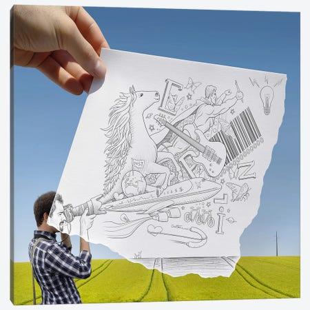 Pencil vs. Camera 30 - Photographer Canvas Print #BHE22} by Ben Heine Art Print
