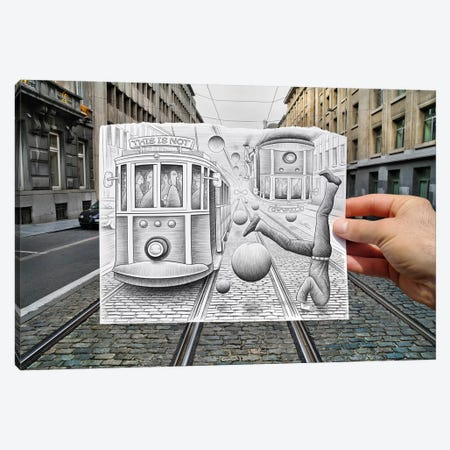 Pencil vs. Camera 35 - This is Not Gravity Canvas Print #BHE24} by Ben Heine Canvas Wall Art