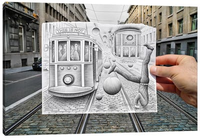 Pencil vs. Camera 35 - This is Not Gravity Canvas Print #BHE24