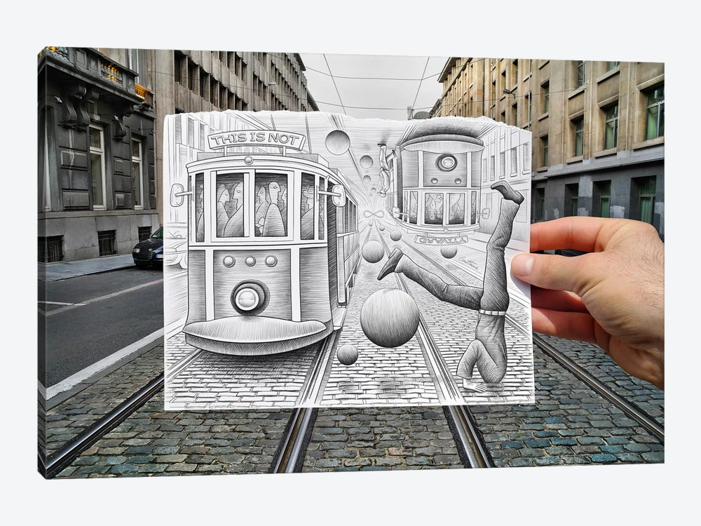 Pencil vs. Camera 35 - This is Not Gravity by Ben Heine 1-piece Canvas Print