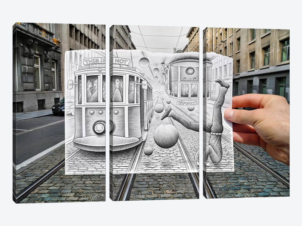 Pencil vs. Camera 35 - This is Not Gravity by Ben Heine 3-piece Canvas Print